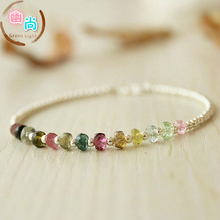 Original S925 Silver Natural Rainbow Section Tourmaline Bracelet Female Fine Silver Pearl Female Student Simple Girlfriend Bracelet