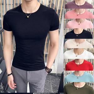 2018夏季 基础款 韩版修身12色短袖<span class=H>T恤</span>男圆领青年 糖果色纯色弹力