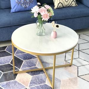 北欧大理石<span class=H>茶几</span>铁艺金色简约现代客厅沙发家用圆形欧式小户型茶桌