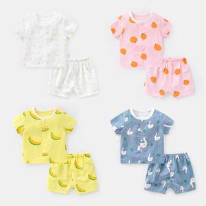 婴儿衣服纯棉纱布短袖套装夏装幼儿男童女宝宝外出服两件套Y4409