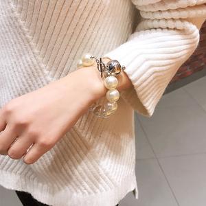 日韩气质优雅大珍珠<span class=H>手链</span>简约森系冷淡风百搭人造珍珠手环手饰品女