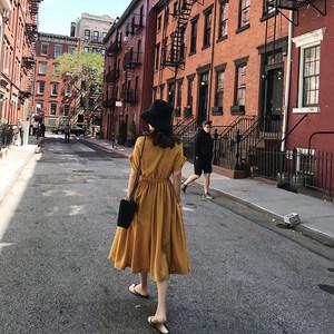 <span class=H>简约</span>纯色显瘦高腰连衣裙女夏2018新款中长款气质圆领<span class=H>小</span><span class=H>黑裙</span>大摆裙