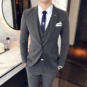 秋冬新品西装西裤三件套韩版修身男西服套装男装商务休闲礼服灰色