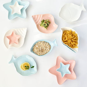 创意地中海<span class=H>陶瓷</span>餐具套装家用<span class=H>水果盘</span>子菜盘可爱早餐盘碟子