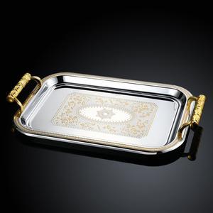 高档欧式不锈钢托盘长方形金色银色茶杯酒具茶盘酒店KTV自助<span class=H>餐盘</span>