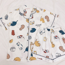Ins Japanese Cute Cat Printed Cotton Short Sleeve Nightwear Suit for Women in Summer Leisure Cute Korean Version Home Suit