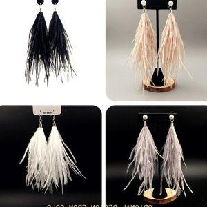 小仙女耳环原创 度假风超仙白色鸵鸟绒毛羽毛耳环女 韩国气质耳环
