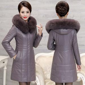 中老年<span class=H>皮衣</span>女加厚大码妈妈装真皮羽绒服女中长款修身狐狸毛领外套