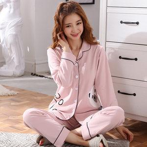 睡衣女秋季纯棉长袖翻领套装粉色休闲韩版可爱全棉春夏学生家居服