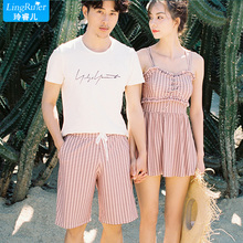Couple models swimwear female 2018 new two-piece bikini split skirt conservative small chest gathered sexy hot spring