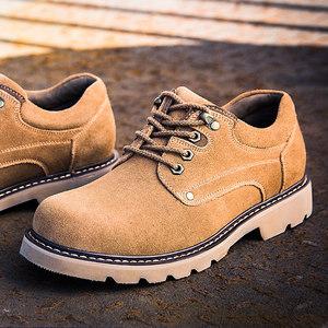 大头皮鞋翻毛皮<span class=H>男鞋</span>真皮户外工装鞋反绒反皮磨砂皮鞋低帮马丁鞋子