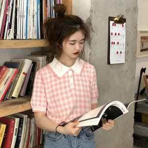 夏季韩版格子短袖T恤女气质百搭体恤显瘦短款上衣Polo衫打底衫潮