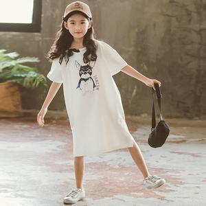 女童中长款<span class=H>t恤</span>裙夏季2018新款韩版时尚13-15岁大童儿童短袖体恤衫