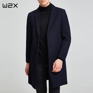 冬季毛呢大衣男中长款羊毛呢青年修身妮子<span class=H>男装</span>男士呢子风衣外套厚
