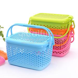 七彩房 多功能手提<span class=H>收纳篮</span>塑料储物篮带盖宠物篮野餐篮子提篮