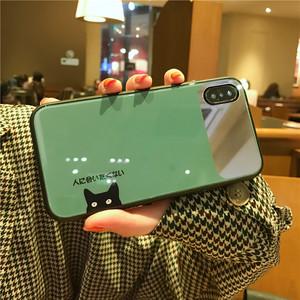 绿色猫咪iphoneXS MAX手机壳<span class=H>苹果</span>X个性7plus镜子XR玻璃6s可爱8p女