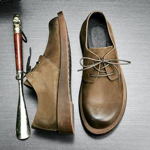 2018春季新款<span class=H>男鞋</span>时尚简约复古皮鞋磨砂真皮大头工装鞋子男士休闲