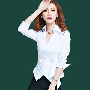 2018春装V领上衣洋气短袖新款<span class=H>女装</span>衬衫职业个性韩范短款衬衣夏季S