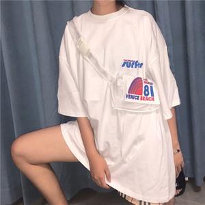 夏装<span class=H>女装</span>怪味佛系少女中长款原宿风宽松字母印花短袖T恤+送腰挎包