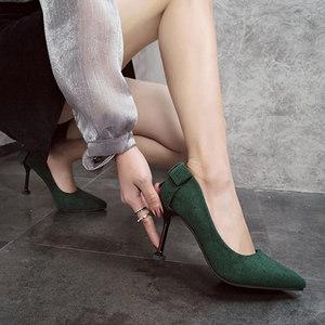少女小清新高跟鞋细跟尖头浅口甜美蝴蝶结单鞋中跟工作黑色女鞋子