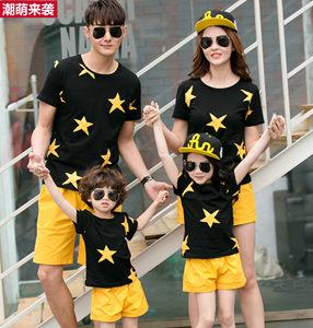 2019亲子装夏装潮韩版全家装母女父子装短裤短袖运动夏款三口套装