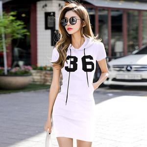 夏季休闲运动中长款T恤女短袖连帽<span class=H>卫衣</span>打底裙印花修身包臀连衣裙
