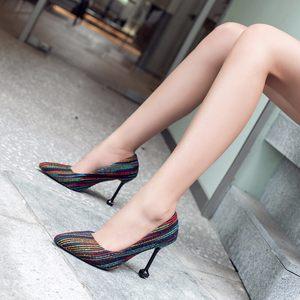 条纹布面高跟鞋女2018秋季新款尖头浅口猫跟时装鞋子细跟<span class=H>单鞋</span>
