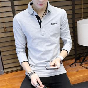 2019春装新款男士长袖T恤韩版潮流青年衬衫领POLO衫男衣服打底衫