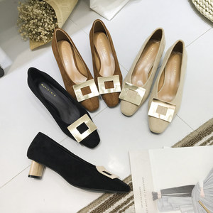 韩版东大门优雅气质木纹粗跟金属扣女鞋方头绒面四季单鞋高跟鞋春