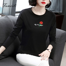 Women's Bottom Shirt 2019 New Loose Large Size Ocean Middle-aged Mother's T-shirt Cotton Long Sleeve Autumn Shirt