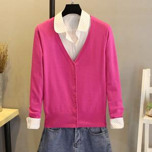 春季新款<span class=H>针织衫</span>女<span class=H>开衫</span>短款毛衣长袖V领空调衫薄款外搭小披肩外套