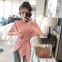 Summer 2019 New Net Red Baitie Loose Band Received Slim Short Sleeve Trendy T-shirt Women's Pure Color Top