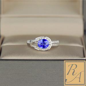 18K白金au750不规则造型围钻蓝宝石<span class=H>戒指</span>天然蓝宝石女镶嵌珠宝定制