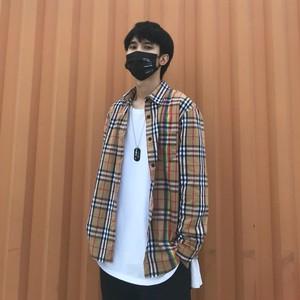 复古黄色格子衬衫男女彩虹条纹秋国潮宽松韩版学生秋季情侣衫外套