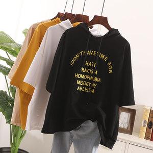 2019夏季新款韩版宽松大码字母印花短袖T恤女纯色连帽<span class=H>卫衣</span>上衣 潮
