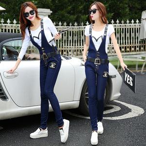背带裤女夏2019新款韩版显瘦春季高腰裤子套装小脚裤牛仔裤两件套