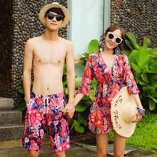 Lovers'Swimming Suit New Bikini Three-piece Female Conservative Small Chest Collection Beach Hot Spring Holiday Men's Trousers