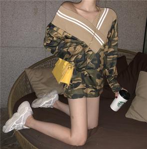 2018新款chic套头短款宽松海军风拼接大V领长袖潮流卫衣<span class=H>女装</span>秋装