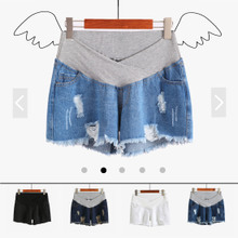 Pregnant women jeans shorts, summer thin low waist pregnant women, spring summer wear, jeans, abdomen, 2018 tide mothers.