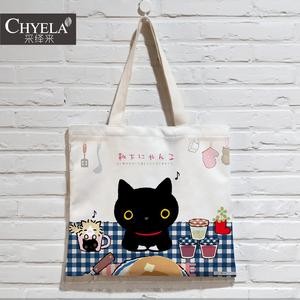 可爱日系黑猫靴下猫周边布袋横版单肩帆布包<span class=H>电脑</span>包DIY来图定制AD4