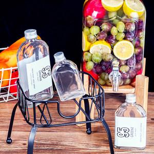 一次性玻璃饮料瓶200ml酒瓶创意包装扁方型ins果汁<span class=H>杯</span>外卖酵素空小