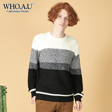 WHOAU Fall New Men's Spliced Leisure Sweater Fashion Knitted Sweater WHKA848D02