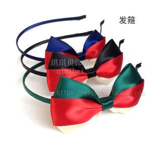 欧美个性特色<span class=H>发箍</span>发卡 发夹顶夹发圈 红蓝白色条纹蝴蝶结头箍卡子