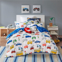 Children's four sets of pure cotton cartoon car boy cute cotton bedding three sets of 1.2m bed quilt