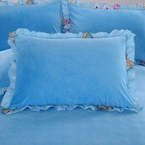 水晶绒全棉枕套韩版枕头套单人枕法兰绒天鹅绒<span class=H>枕芯</span>套一对
