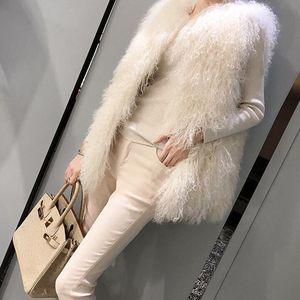 2018冬新款仿滩羊毛皮草马甲女中长款时尚显瘦羊羔毛背心毛毛<span class=H>外套</span>