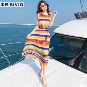 夏季新款雪纺海边度假沙滩裙波西米亚长裙宽松大码七彩条纹<span class=H>连衣裙</span>