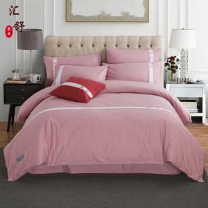 纯色<span class=H>四件套</span>全棉纯棉秋冬磨毛被套长绒棉双人床单简约欧式床上用品