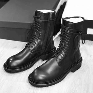 ANN<span class=H>马丁靴</span>女英伦风平底真皮短靴网红系带骑士靴百搭粗跟中筒靴子