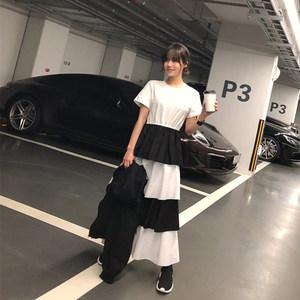 2018夏韩国新款黑白拼接层层蛋糕<span class=H>连衣裙</span>收腰短袖<span class=H>女</span>长款<span class=H>多层</span>次裙子